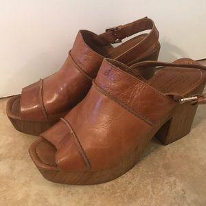 TOPSHOP open toe chunky heel mules SZ9